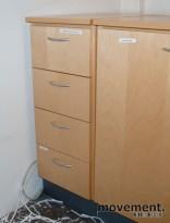 Dyp skuffeseksjon / skap med uttrekksskuffer, 4 skuffer, 33 cm bred, pent brukt