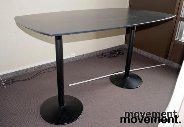 Ståbord / mingelbord i grått / sort, 200x110 cm, 112.5 cm høyde, pent brukt