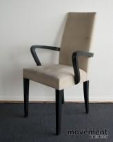 Andreu World konferansestol i lys beige mikrofiber, sorte ben, brukt