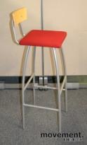 Jubilee Barkrakk fra Helland i bjerk/grått/rødt, 81,5cm sittehøyde, pent brukte