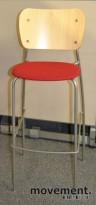 EFG Barkrakk i bjerk/grått/rødt stoff, 76,5cm sittehøyde, pent brukt