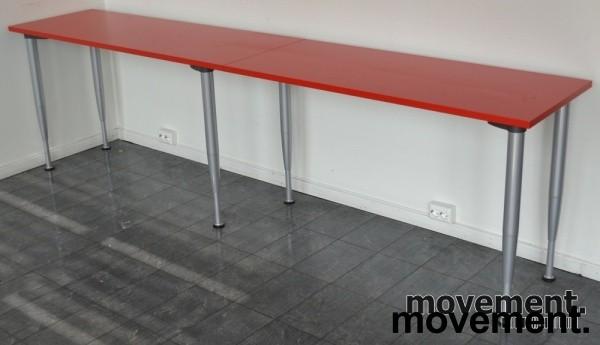 Kinnarps rektangul u00e6rt bord med rodplate, 260x50cm, brukt