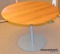 Lekkert, rundt møtebord i valnøtt , Ø=100cm, H=73,5cm, pent brukt
