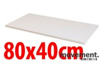 Hvit bordplate til skrivebord, 80x40cm, NY/UBRUKT