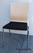 EFG konferansestol SIT i bjerk/sort/grått, stablebar, pent brukte