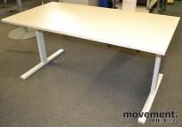 Skrivebord i hvitt, 160x80cm, hvite T-ben, NY