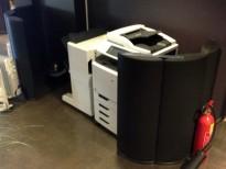 Design-skillevegg for kontor i sort, 116cm høyde, 120cm bredde, pent brukt