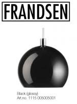 Pendellampe i sort metall fra Frandsen, Danmark, mod 1115 BALL, pent brukt