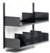 Veggmontert hylle / vegghyller / vegghengt arkivhylle fra Altistore i antrasittgrått stål, pent brukt