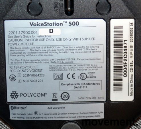 Konferansetelefon Polycom VoiceStation 500, analog med BlueTooth, pent brukt bilde 4