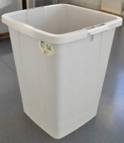 Stort søppelspann i grå plast, 48,5 x 50 x 60cm, 90 liter, pent brukt