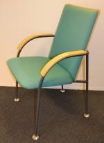Konferansestoler i bjerk/grått/grønt fra Martela, Finland, pent brukt