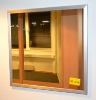 Speil med sølvfarget ramme 73cm bredde, 70cm høyde, pent brukt