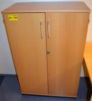 Kinnarps E-serie i bøk, skap med dører, 3 permhøyder, 125cm høyde, pent brukt