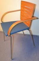 Besøksstol fra Bent Krogh i kirsebær / krom / blått, modell NOTE,  pent brukt