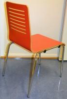 Solid konferansestol / kafestol i krom / rødt, pent brukt