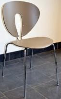 Stablestol i gråbeige, plast/krom: modell Globus fra Stua, design: Jesus Gasco, pent brukt