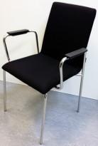 Moon Stablebar konferansestol med armlener i sort stoff / krom, NY