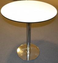Ståbord med rund plate i hvitt Ø=80cm, understell i krom, 89cm høyde, pent brukt