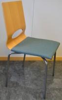Isku Minus konferansestol / møteromsstol i bøk / grønt / grått, pent brukt