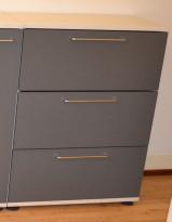 Skap med 3 arkivskuffer for hengemapper, i lysegrått / grått, 114,5cm høyde, brukt