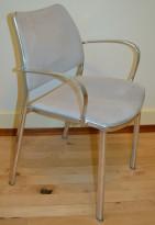Konferanstoler, stablestol, i alugrått / lys grå mikrofiber, pent brukt