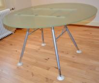 Rundt møtebord i frostet glass, Ø=120cm, pent brukt