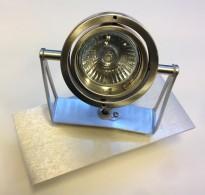 Veggspotlight i grått, 1 stk justerbar spot på ramme, 230V, pent brukt