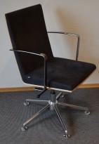 EFG Woods Konferansestol / møteromsstol i bjerk/grå mikrofiber, base/lener i krom, pent brukt