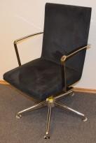 EFG Woods Konferansestol / møteromsstol i grå mikrofiber, base i krom, krom lener, pent brukt