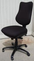 RBM Rabami 820/830 ergonomisk kontorstol med høy rygg, nytrukket i sort, pent brukt