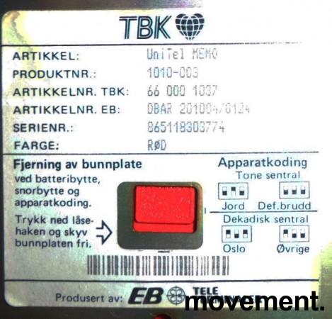TBK Unitel Memo Retro telefonapparat i rød plast, pent brukt bilde 2