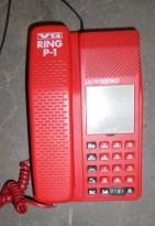 TBK Unitel Memo Retro telefonapparat i rød plast, pent brukt