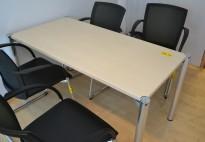 Kompakt møtebord / skrivebord 140x70cm bjerk plate / krom ben, pent brukt