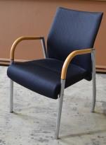 Karmstol i stål / bøk / gråmønstret stoff, pent brukt
