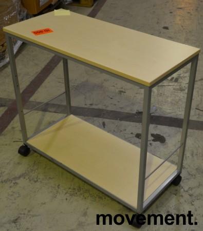 Avlastningsbord sidebord i bjerk, benmed hjul, 80cm bredde, pent brukt