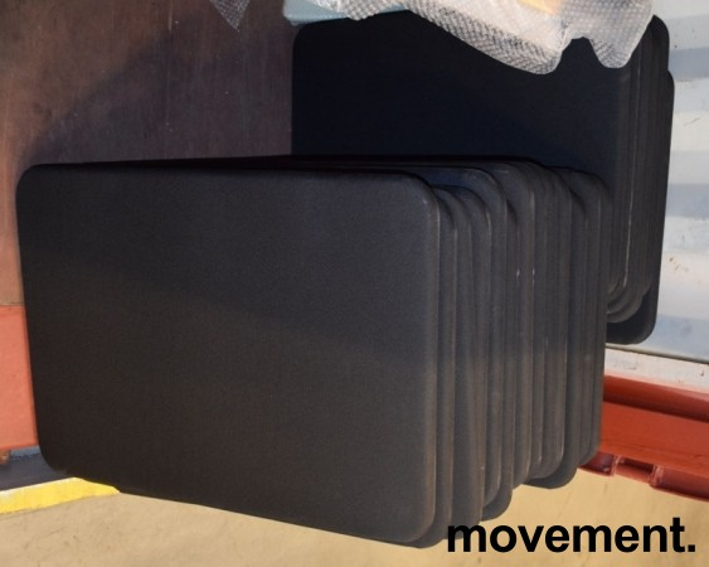 Skillevegg / skjermvegg for siden av pult, 80x60cm i sort med skrufester, pent brukte