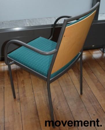 Konferansestol / møteromsstol fra Inno, modell Stack i grått / grønnmønstret stoff / bjerk, pent brukt bilde 3