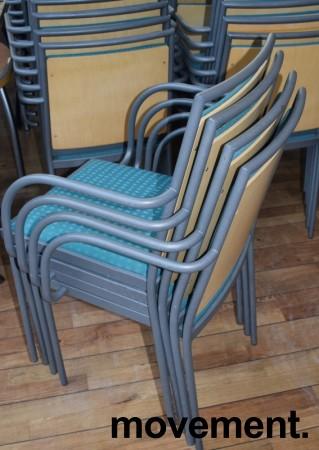 Konferansestol / møteromsstol fra Inno, modell Stack i grått / grønt stoff / bjerk, pent brukt bilde 3