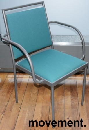 Konferansestol / møteromsstol fra Inno, modell Stack i grått / grønt stoff / bjerk, pent brukt bilde 1