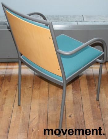 Konferansestol / møteromsstol fra Inno, modell Stack i grått / grønt stoff / bjerk, pent brukt bilde 2