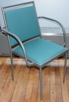 Konferansestol / møteromsstol fra Inno, modell Stack i grått / grønt stoff / bjerk, pent brukt