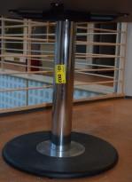 Understell søylefot, 69,5cm høyde, base Ø=60cm, sort/krom, pent brukt