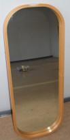Vegghengt speil, ramme i bøk, avrundede hjørner, 45x115cm, pent brukt
