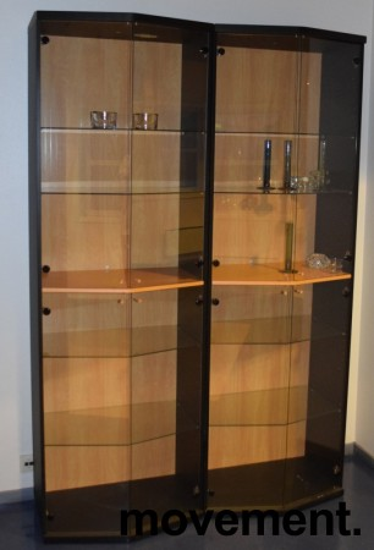 Høye skap med glassdører / vitrineskap, 218,5cm høyde, pent brukt bilde 3