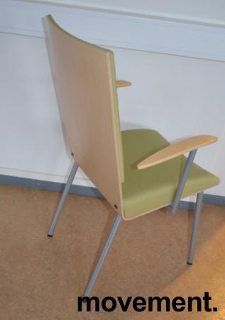 Klaessons konferansestol i grått/bjerklys grønt sete/ryggpute med armlene, modell ANNO, pent brukt bilde 2