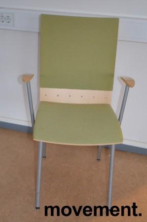 Klaessons konferansestol i grått/bjerklys grønt sete/ryggpute med armlene, modell ANNO, pent brukt bilde 1