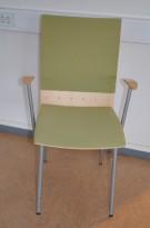 Klaessons konferansestol i grått/bjerklys grønt sete/ryggpute med armlene, modell ANNO, pent brukt