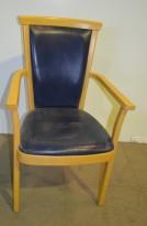 Remus Konferansestol i bøk / blått skinntrekk fra Kinnarps, pent brukte