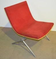 Loungestol EFG Avia i rød mikrofiber / bjerk, pent  brukt